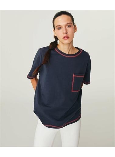 Twist Kadın Kontrast Dikişli  Tişört TS1210070213036 Gri